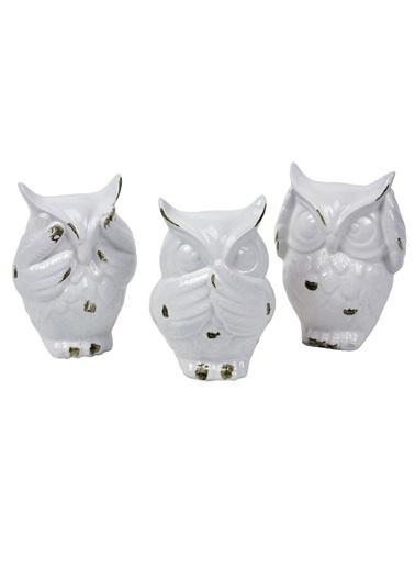 Warm Design Eskitme Seramik Baykuş Beyaz